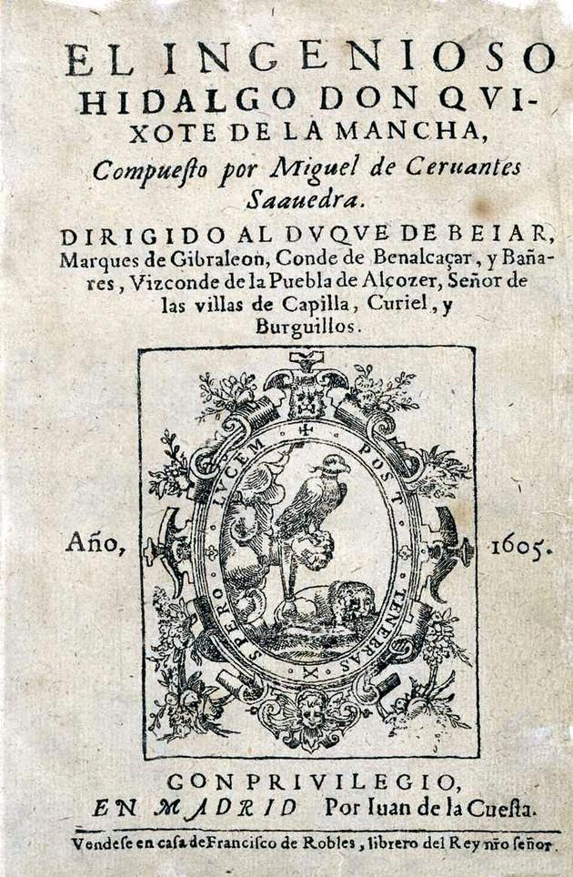Capa da primeira edição de Dom Quixote de La Mancha